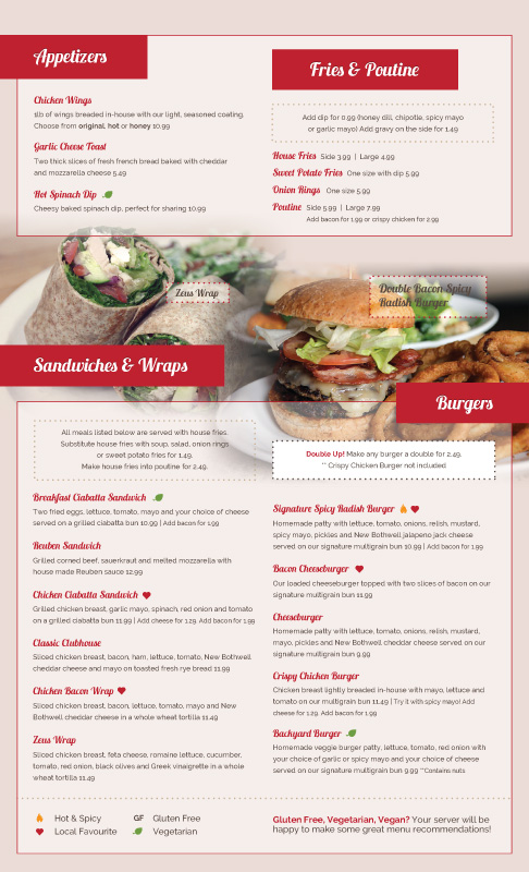 Lunch and Dinner Menu - Spicy Radish Cafe - Restaurant Cafe
